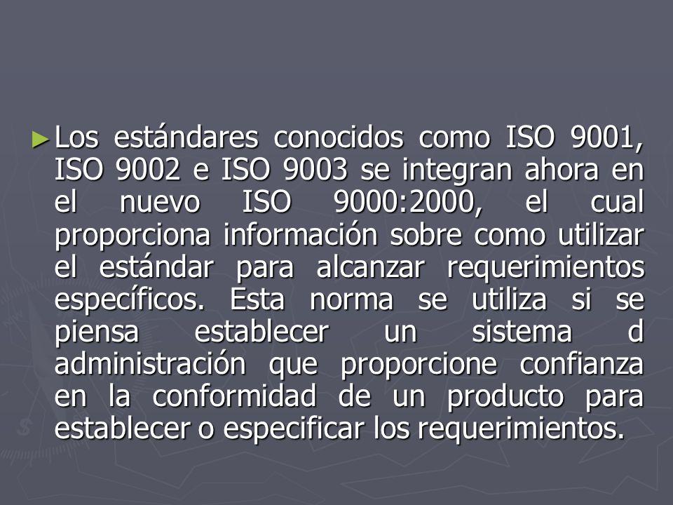 Los estándares conocidos como ISO 9001, ISO 9002 e ISO 9003 se integran ahora en el nuevo ISO 9000:2000, el cual proporciona información sobre como ut