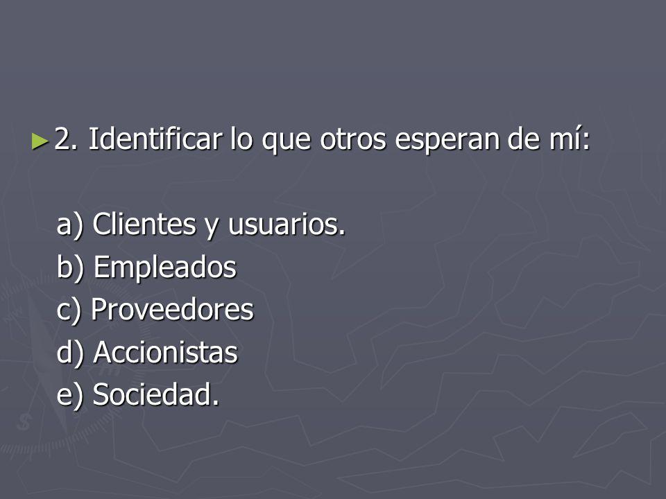 2. Identificar lo que otros esperan de mí: 2. Identificar lo que otros esperan de mí: a) Clientes y usuarios. a) Clientes y usuarios. b) Empleados b)