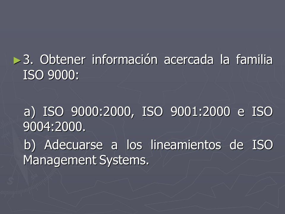 3. Obtener información acercada la familia ISO 9000: 3. Obtener información acercada la familia ISO 9000: a) ISO 9000:2000, ISO 9001:2000 e ISO 9004:2