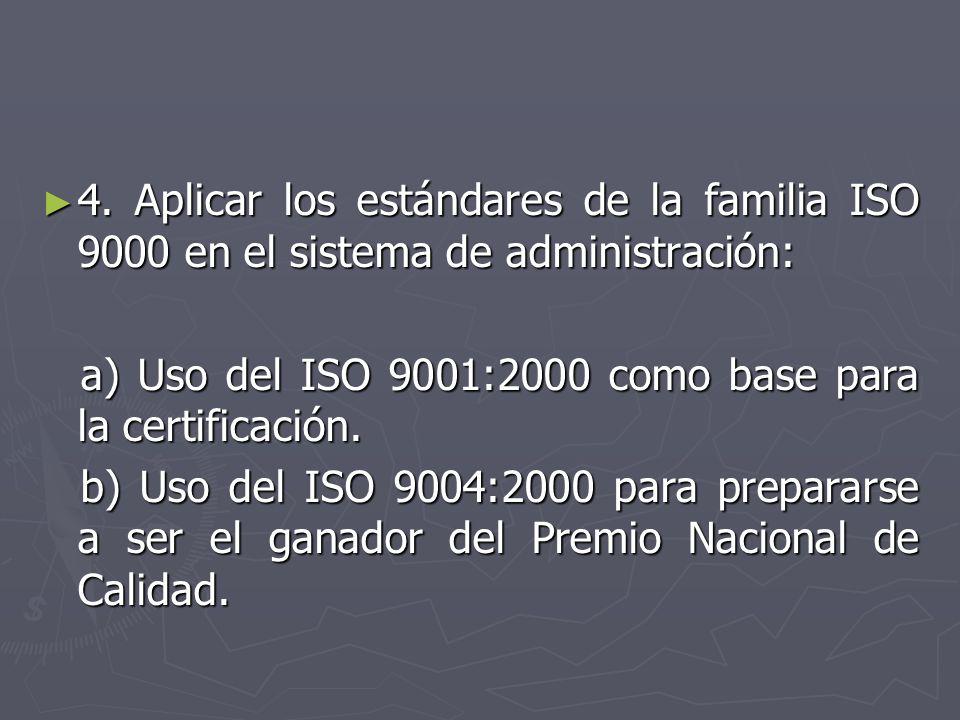4. Aplicar los estándares de la familia ISO 9000 en el sistema de administración: 4. Aplicar los estándares de la familia ISO 9000 en el sistema de ad