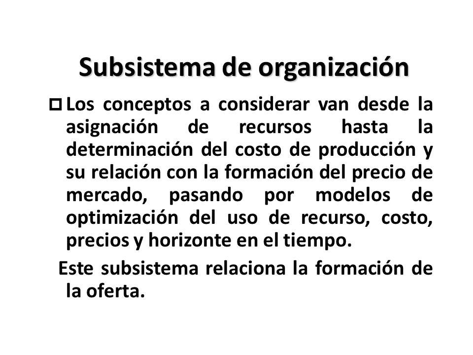 Subsistema de organización p Los conceptos a considerar van desde la asignación de recursos hasta la determinación del costo de producción y su relaci