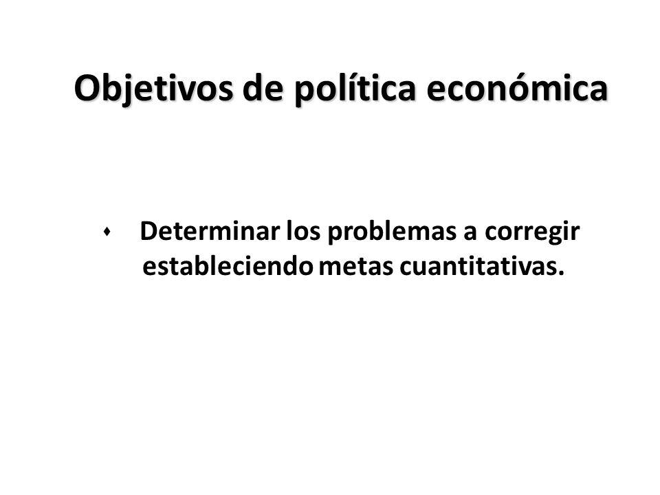 Objetivos de política económica s Determinar los problemas a corregir estableciendo metas cuantitativas.