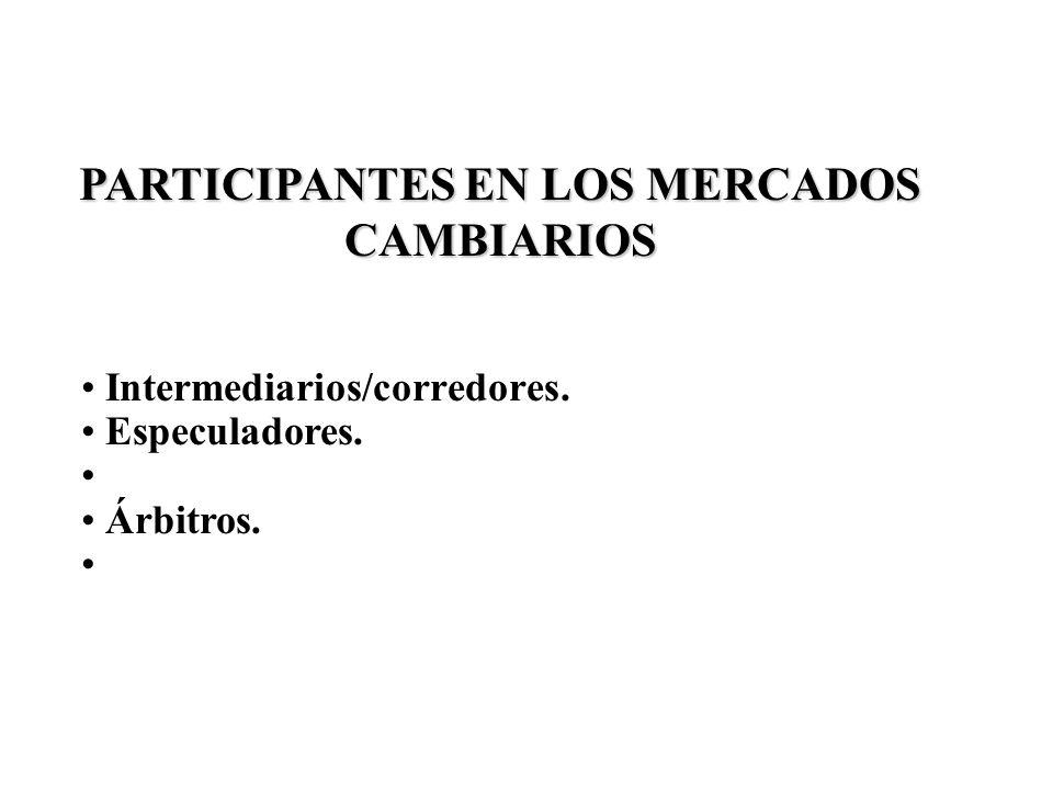PARTICIPANTES EN LOS MERCADOS CAMBIARIOS Intermediarios/corredores. Especuladores. Árbitros.
