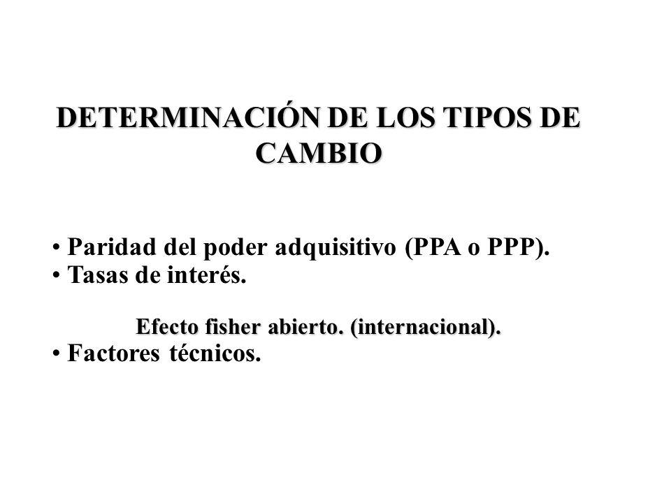 DETERMINACIÓN DE LOS TIPOS DE CAMBIO Paridad del poder adquisitivo (PPA o PPP). Tasas de interés. Efecto fisher abierto. (internacional). Factores téc