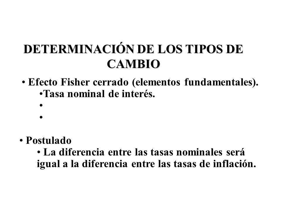 DETERMINACIÓN DE LOS TIPOS DE CAMBIO Efecto Fisher cerrado (elementos fundamentales). Tasa nominal de interés. Postulado La diferencia entre las tasas