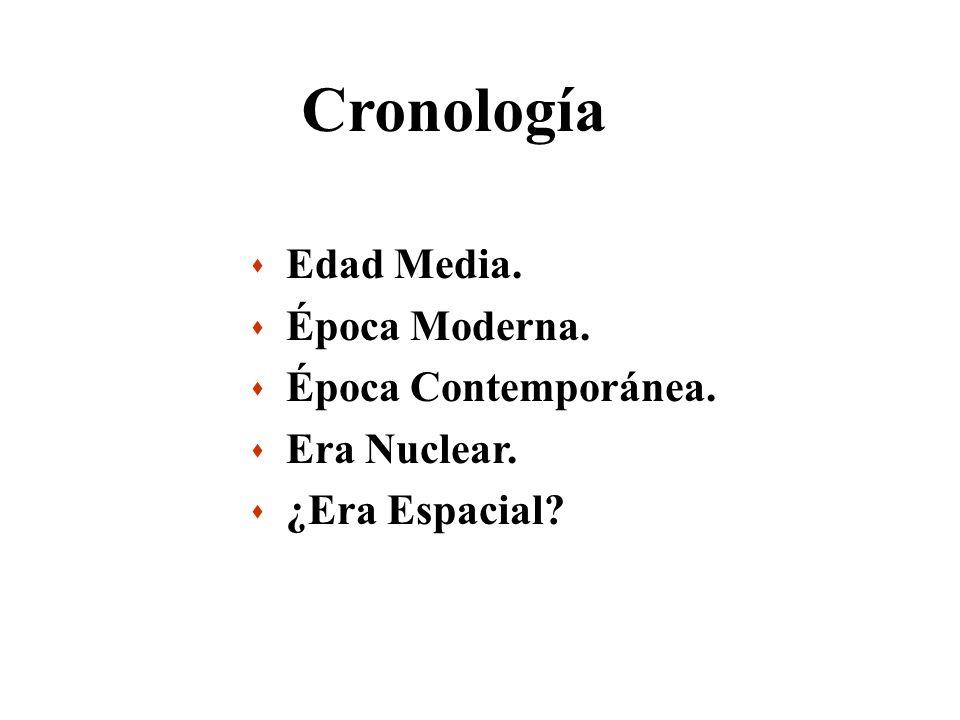 Cronología s Edad Media. s Época Moderna. s Época Contemporánea. s Era Nuclear. s ¿Era Espacial?