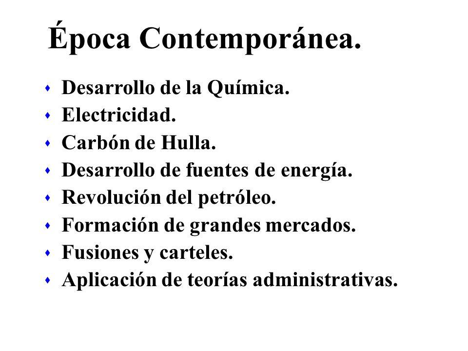Época Contemporánea. s Desarrollo de la Química. s Electricidad. s Carbón de Hulla. s Desarrollo de fuentes de energía. s Revolución del petróleo. s F