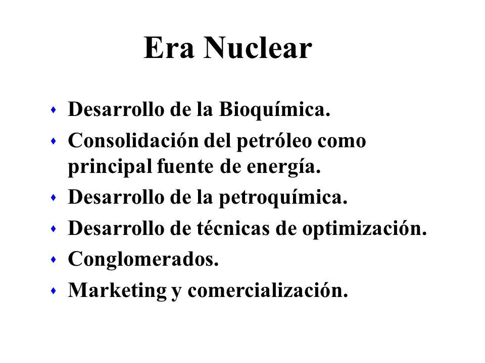 Era Nuclear s Desarrollo de la Bioquímica. s Consolidación del petróleo como principal fuente de energía. s Desarrollo de la petroquímica. s Desarroll