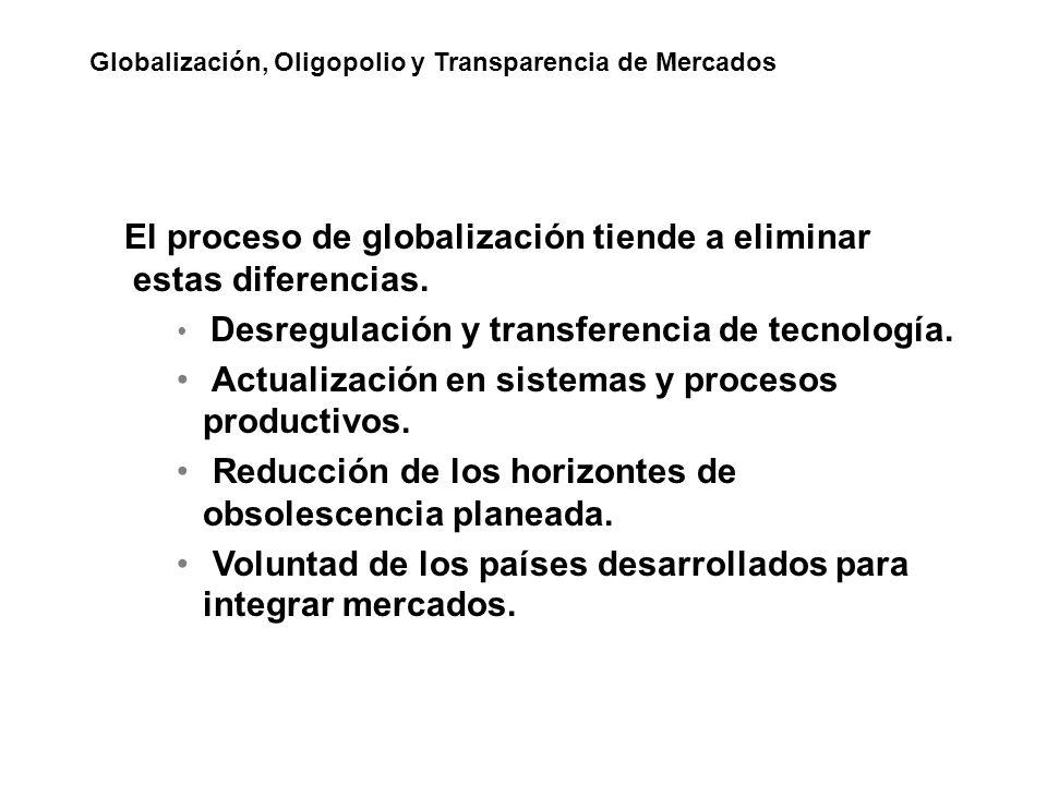 El proceso de globalización tiende a eliminar estas diferencias. Desregulación y transferencia de tecnología. Actualización en sistemas y procesos pro