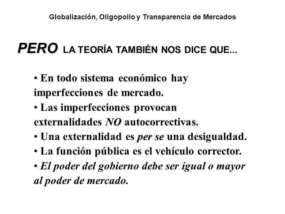 PERO PERO LA TEORÍA TAMBIÉN NOS DICE QUE... En todo sistema económico hay imperfecciones de mercado. NO Las imperfecciones provocan externalidades NO