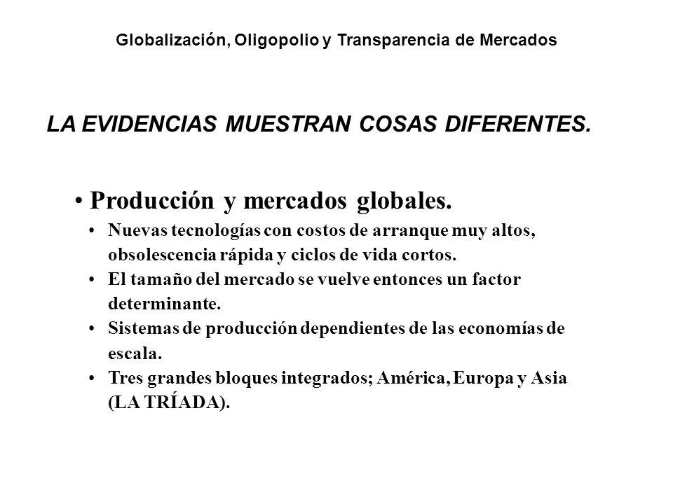 LA EVIDENCIAS MUESTRAN COSAS DIFERENTES. Producción y mercados globales. Nuevas tecnologías con costos de arranque muy altos, obsolescencia rápida y c