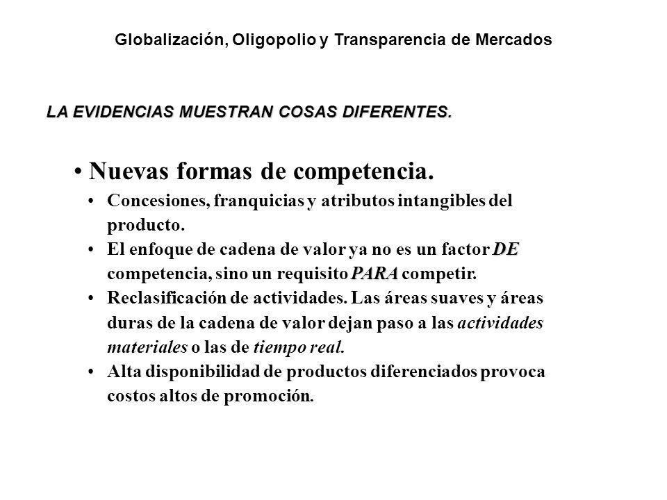 LA EVIDENCIAS MUESTRAN COSAS DIFERENTES. Nuevas formas de competencia. Concesiones, franquicias y atributos intangibles del producto. DE PARAEl enfoqu
