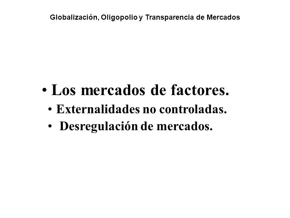Los mercados de factores. Externalidades no controladas. Desregulación de mercados. Globalización, Oligopolio y Transparencia de Mercados