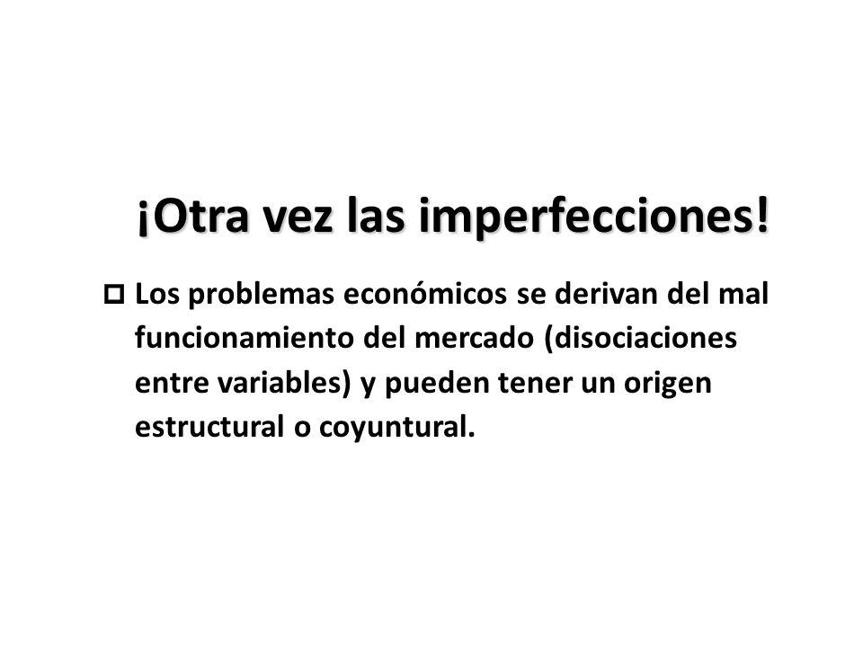 ¡Otra vez las imperfecciones! p Los problemas económicos se derivan del mal funcionamiento del mercado (disociaciones entre variables) y pueden tener