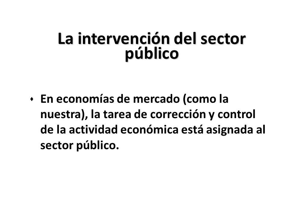 La intervención del sector público s En economías de mercado (como la nuestra), la tarea de corrección y control de la actividad económica está asigna