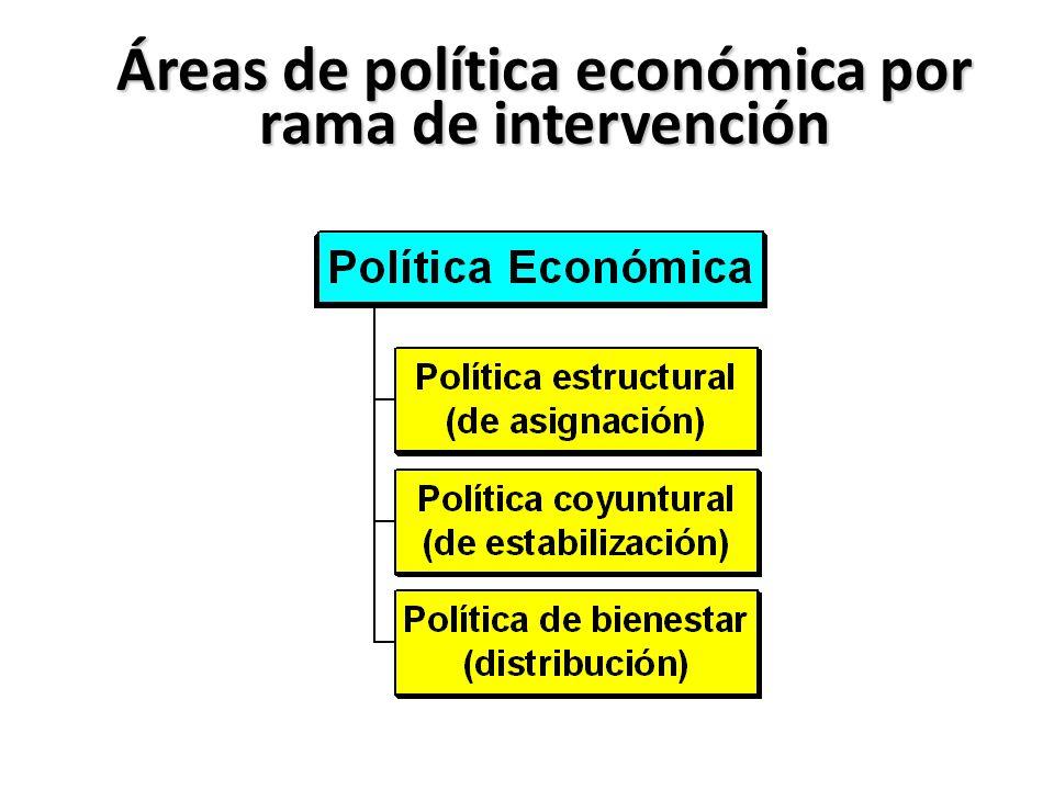 Áreas de política económica por rama de intervención