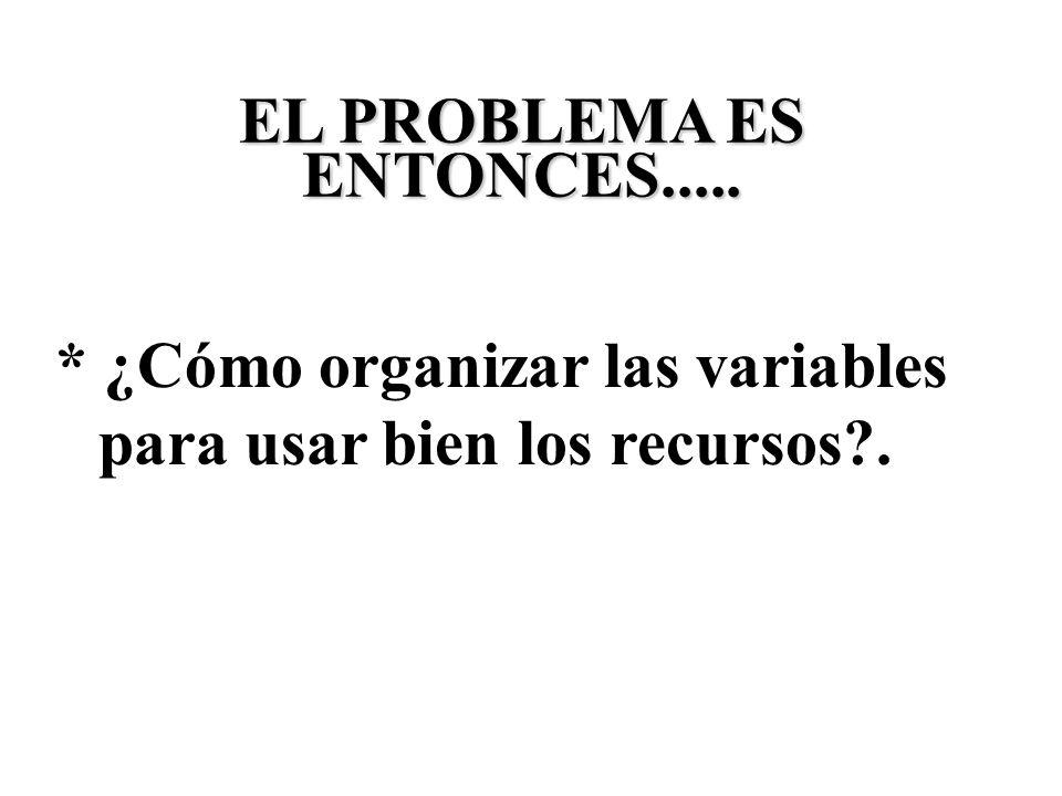 * ¿Cómo organizar las variables para usar bien los recursos?. EL PROBLEMA ES ENTONCES.....