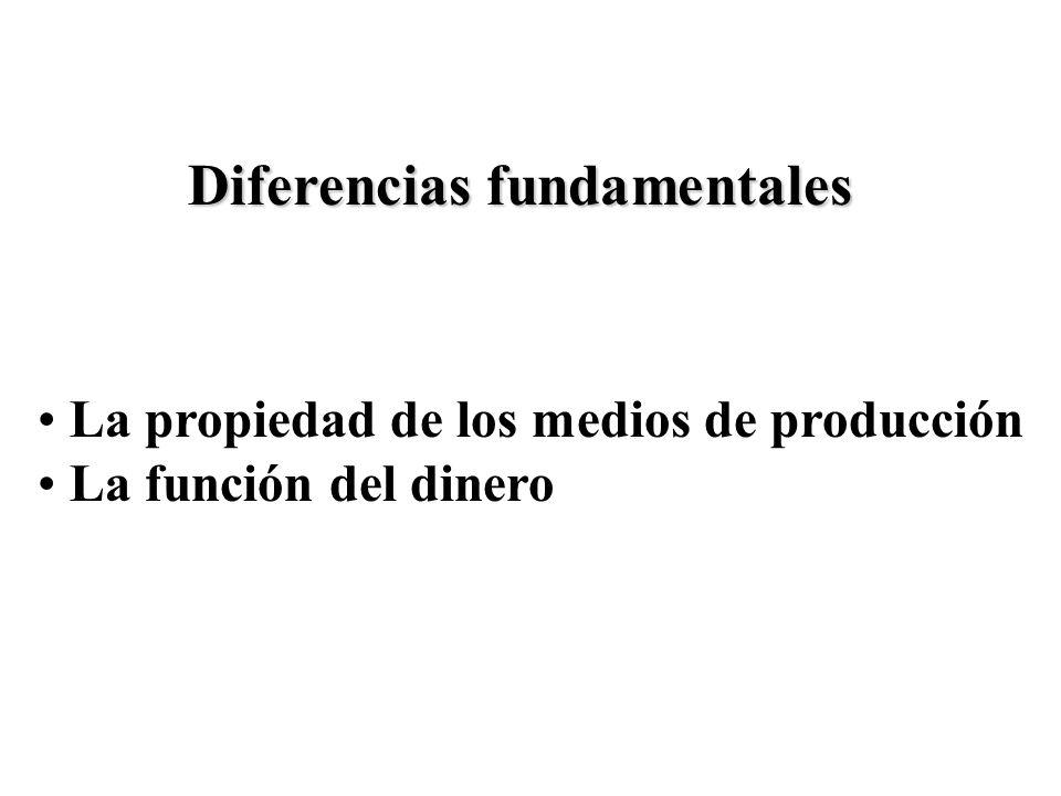 Diferencias fundamentales La propiedad de los medios de producción La función del dinero
