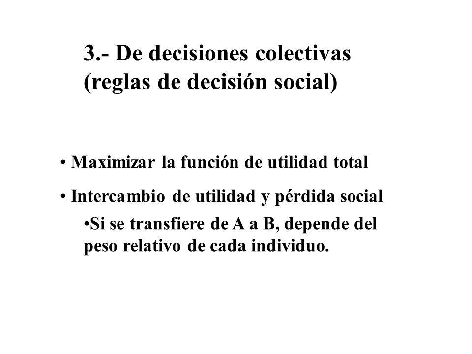 3.- De decisiones colectivas (reglas de decisión social) Maximizar la función de utilidad total Intercambio de utilidad y pérdida social Si se transfi