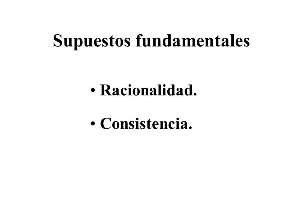 Supuestos fundamentales Racionalidad. Consistencia.