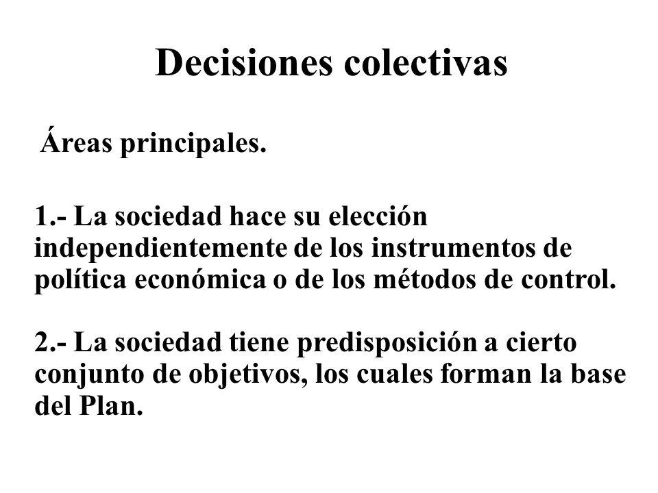 Decisiones colectivas Áreas principales. 1.- La sociedad hace su elección independientemente de los instrumentos de política económica o de los método