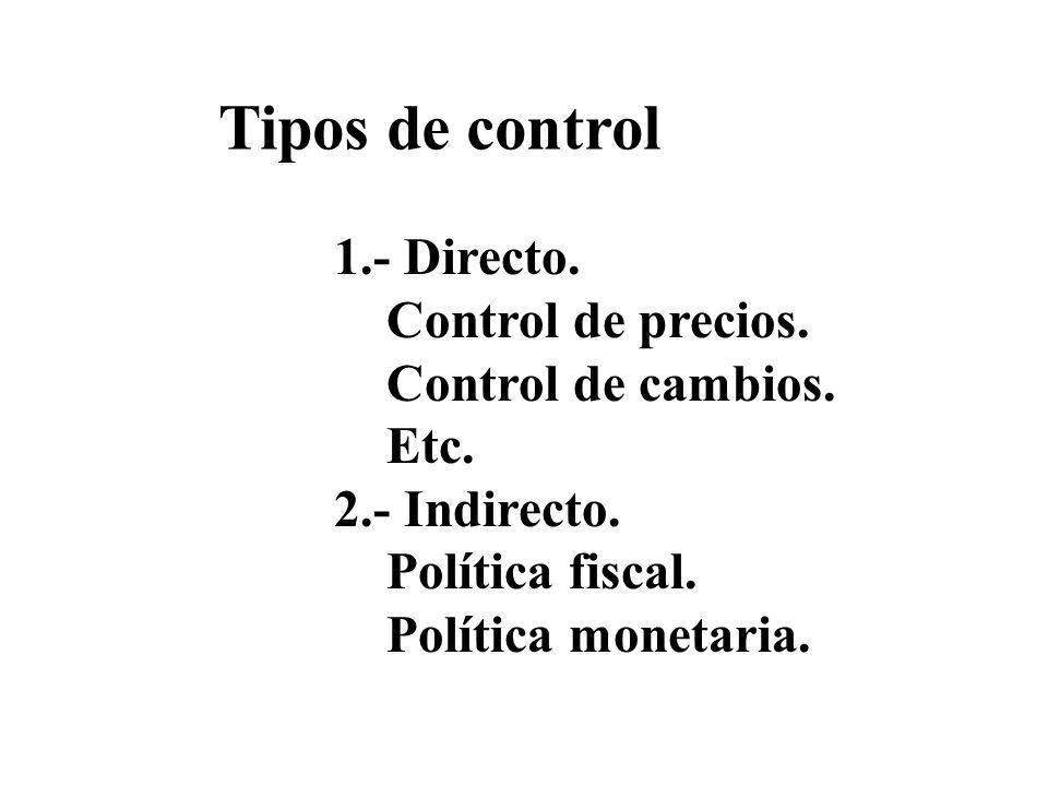Tipos de control 1.- Directo. Control de precios. Control de cambios. Etc. 2.- Indirecto. Política fiscal. Política monetaria.
