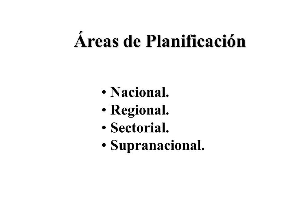 Áreas de Planificación Nacional. Regional. Sectorial. Supranacional.