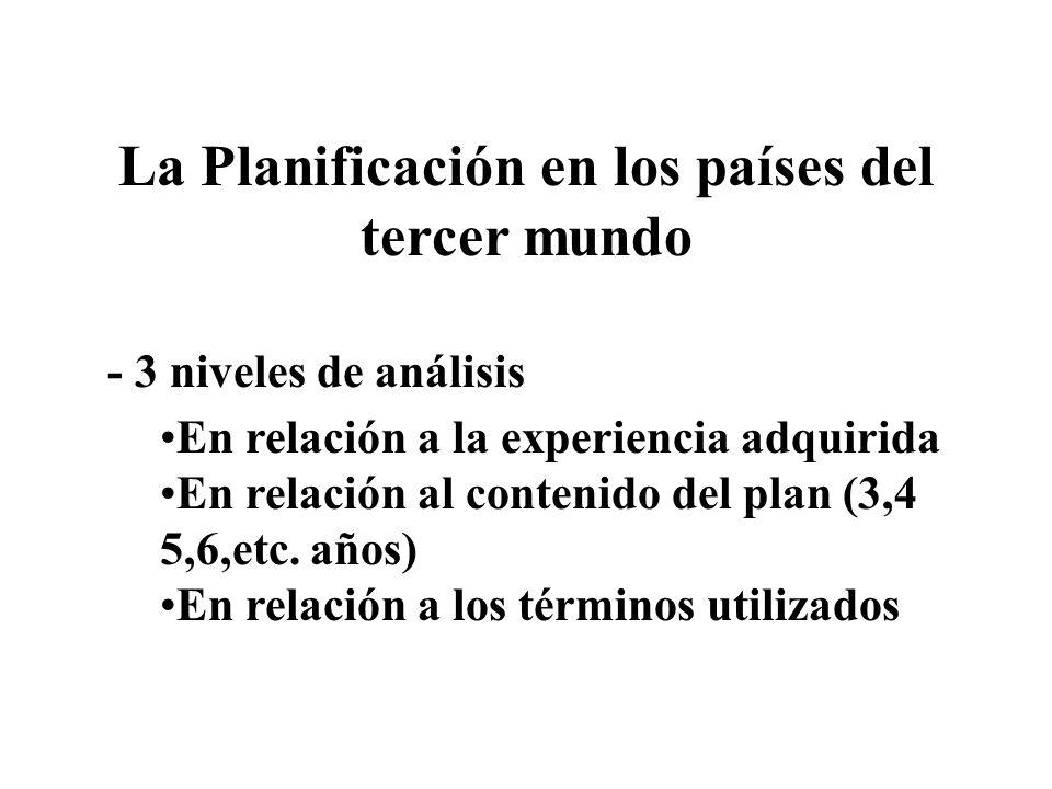 La Planificación en los países del tercer mundo - 3 niveles de análisis En relación a la experiencia adquirida En relación al contenido del plan (3,4