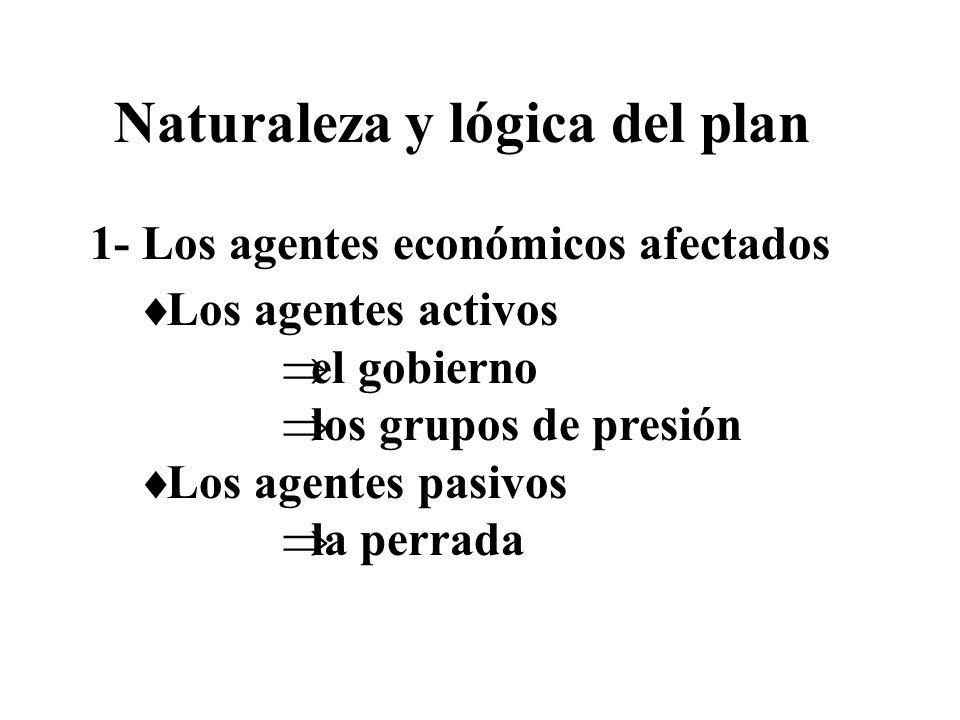 1- Los agentes económicos afectados Los agentes activos el gobierno los grupos de presión Los agentes pasivos la perrada Naturaleza y lógica del plan