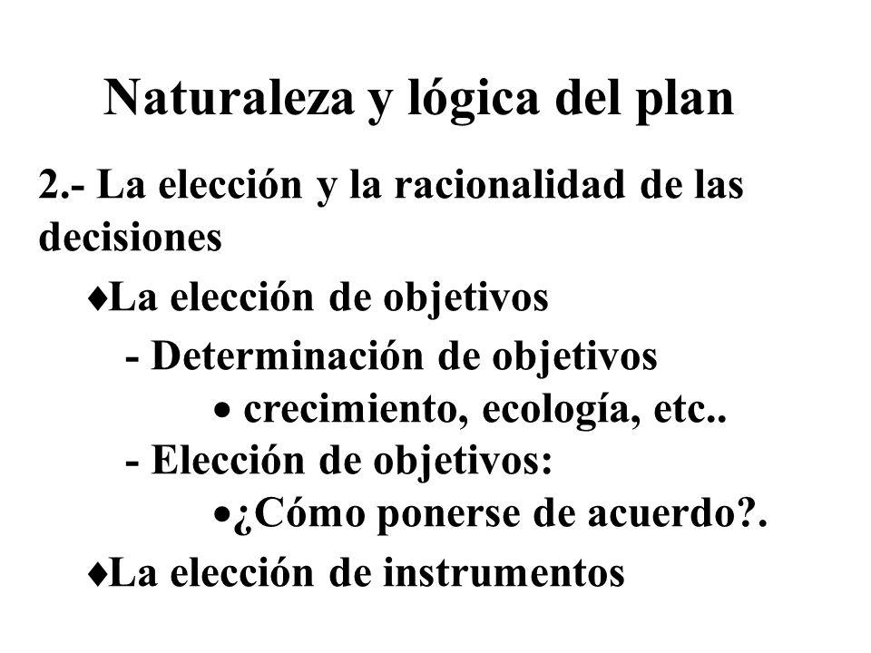 2.- La elección y la racionalidad de las decisiones La elección de objetivos - Determinación de objetivos crecimiento, ecología, etc.. - Elección de o