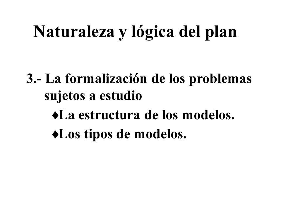 3.- La formalización de los problemas sujetos a estudio La estructura de los modelos. Los tipos de modelos. Naturaleza y lógica del plan