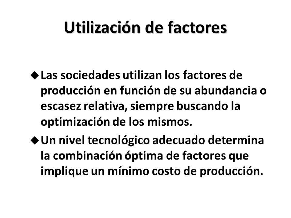 Utilizaciónde factores Utilización de factores u Las sociedades utilizan los factores de producción en función de su abundancia o escasez relativa, si