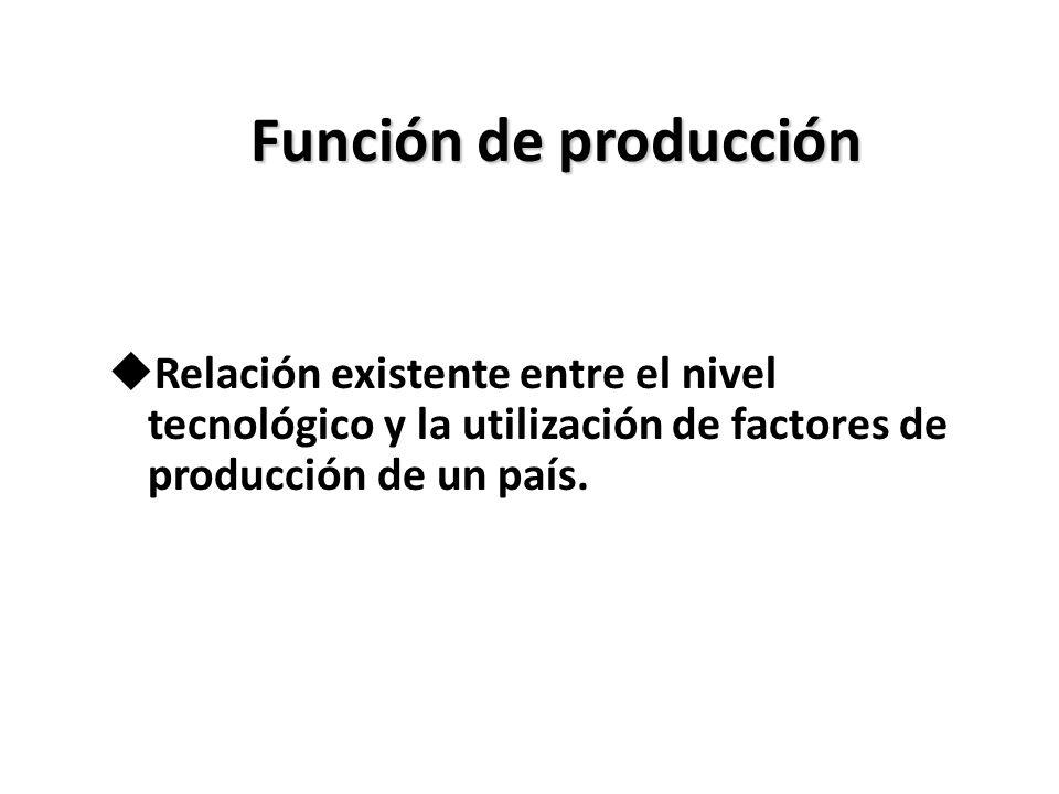 Función de producción uRelación existente entre el nivel tecnológico y la utilización de factores de producción de un país.