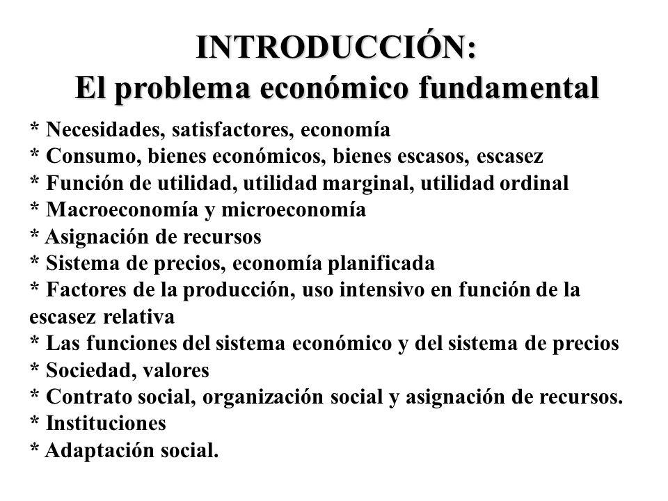 INTRODUCCIÓN: El problema económico fundamental * Necesidades, satisfactores, economía * Consumo, bienes económicos, bienes escasos, escasez * Función