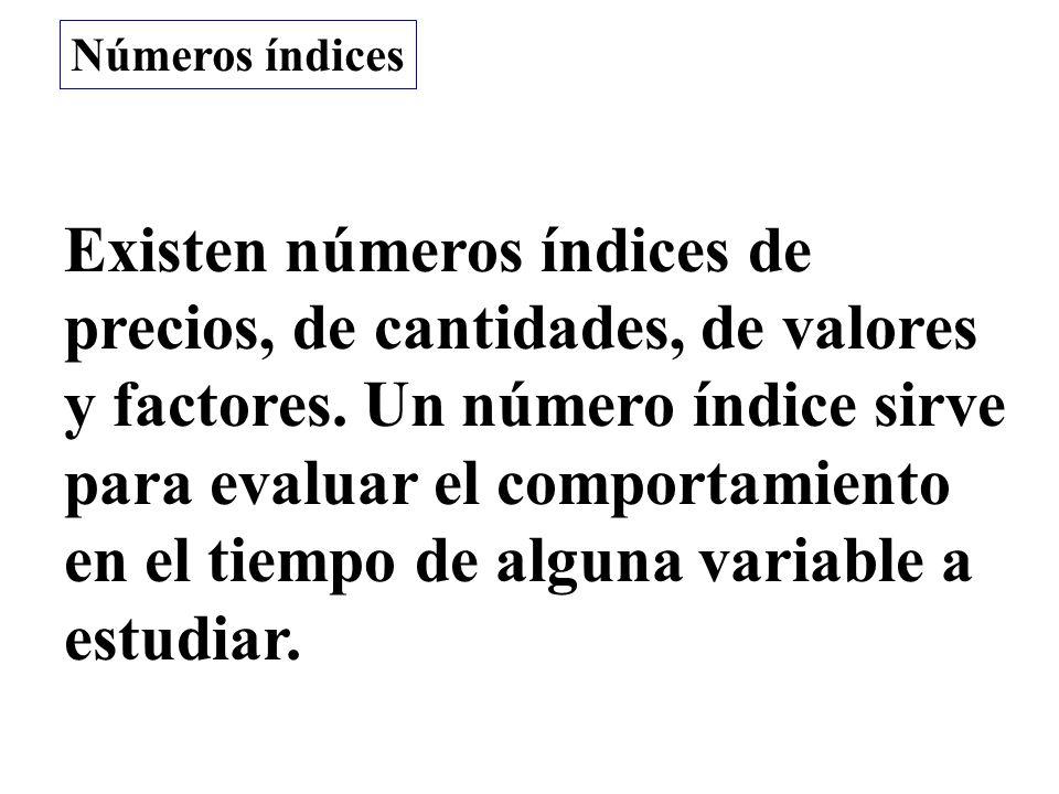 Existen números índices de precios, de cantidades, de valores y factores. Un número índice sirve para evaluar el comportamiento en el tiempo de alguna