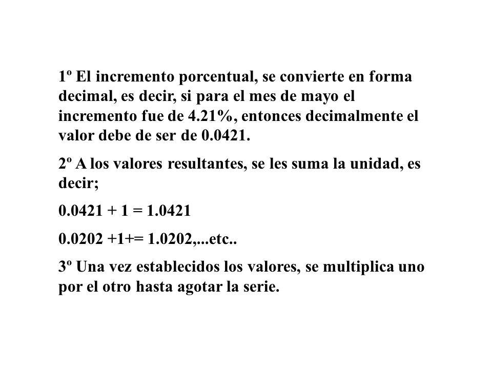 1º El incremento porcentual, se convierte en forma decimal, es decir, si para el mes de mayo el incremento fue de 4.21%, entonces decimalmente el valo