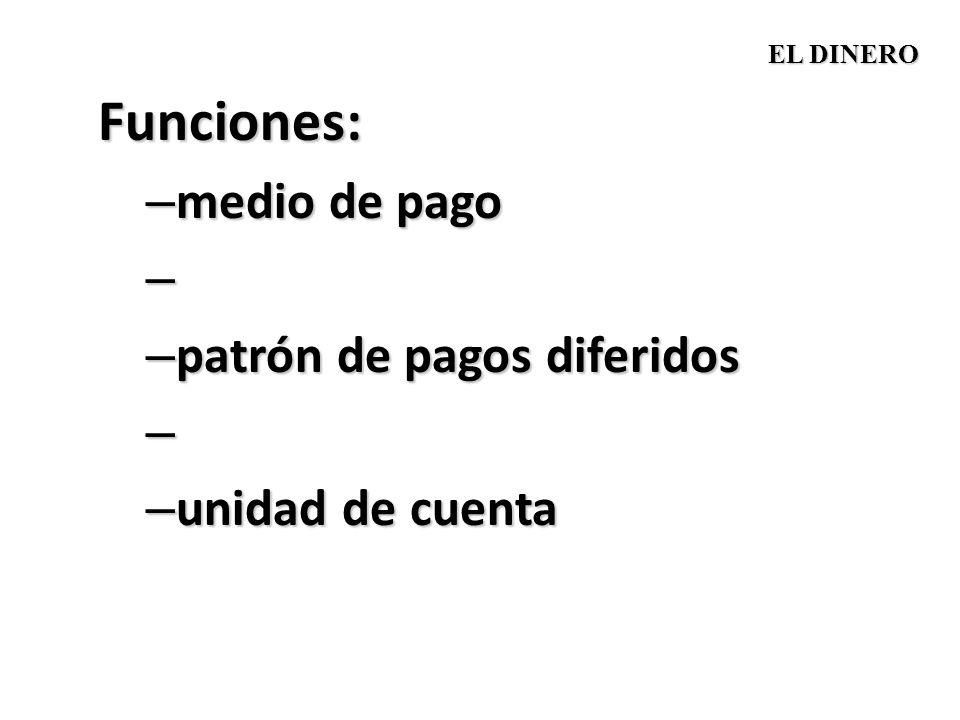 Funciones: – medio de pago – – patrón de pagos diferidos – – unidad de cuenta EL DINERO