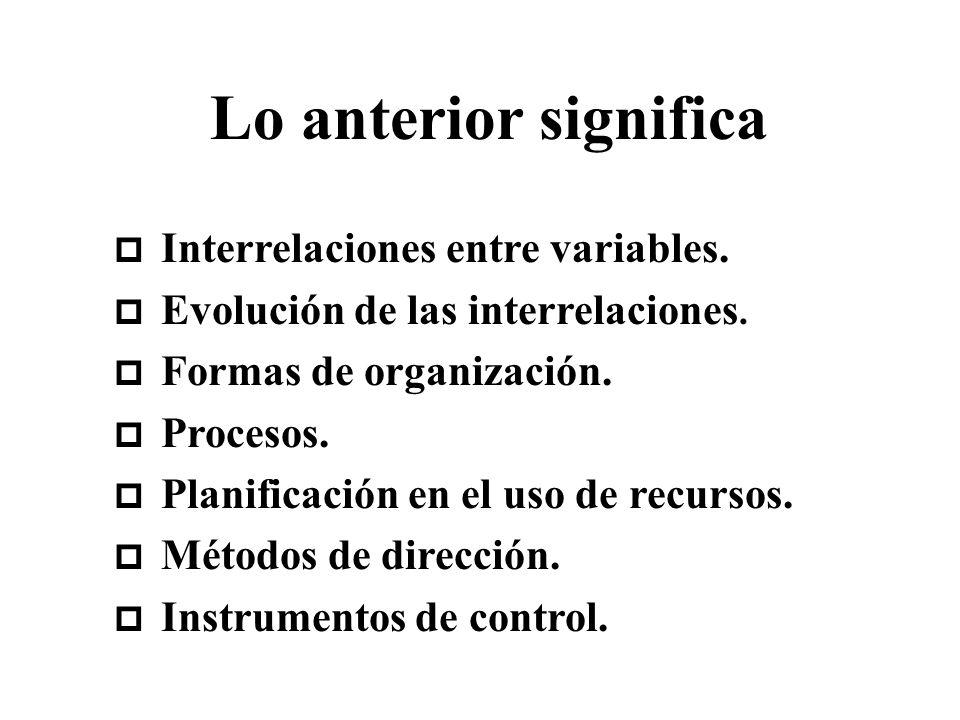 Lo anterior significa p Interrelaciones entre variables. p Evolución de las interrelaciones. p Formas de organización. p Procesos. p Planificación en