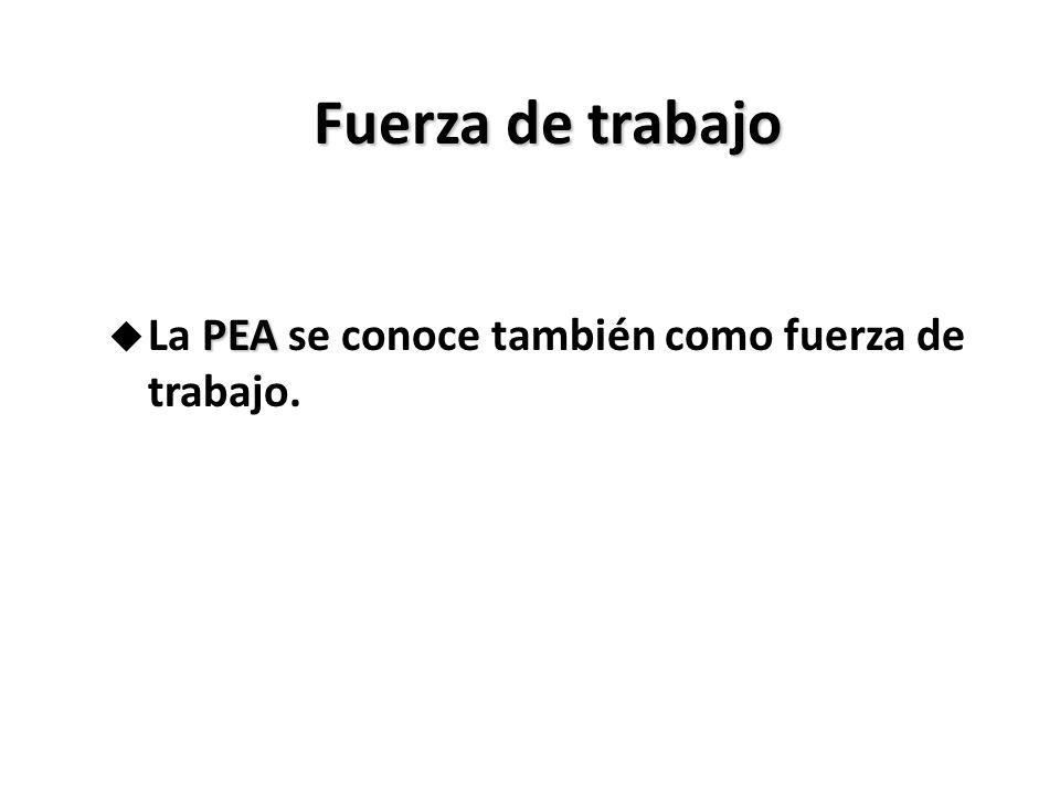 Fuerza de trabajo PEA u La PEA se conoce también como fuerza de trabajo.