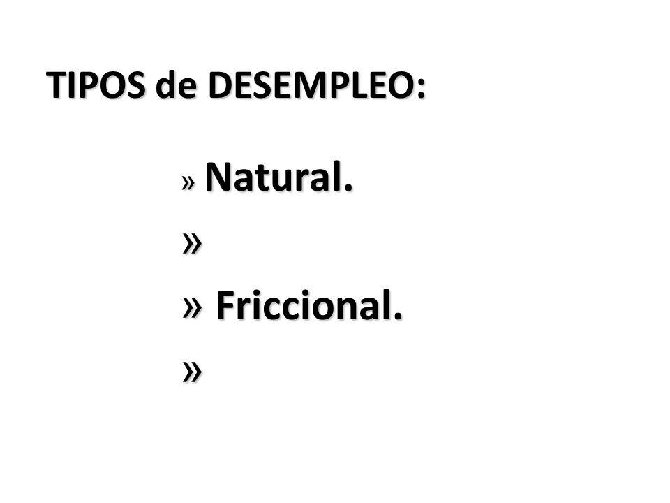 TIPOS de DESEMPLEO: » Natural. » » Friccional. »