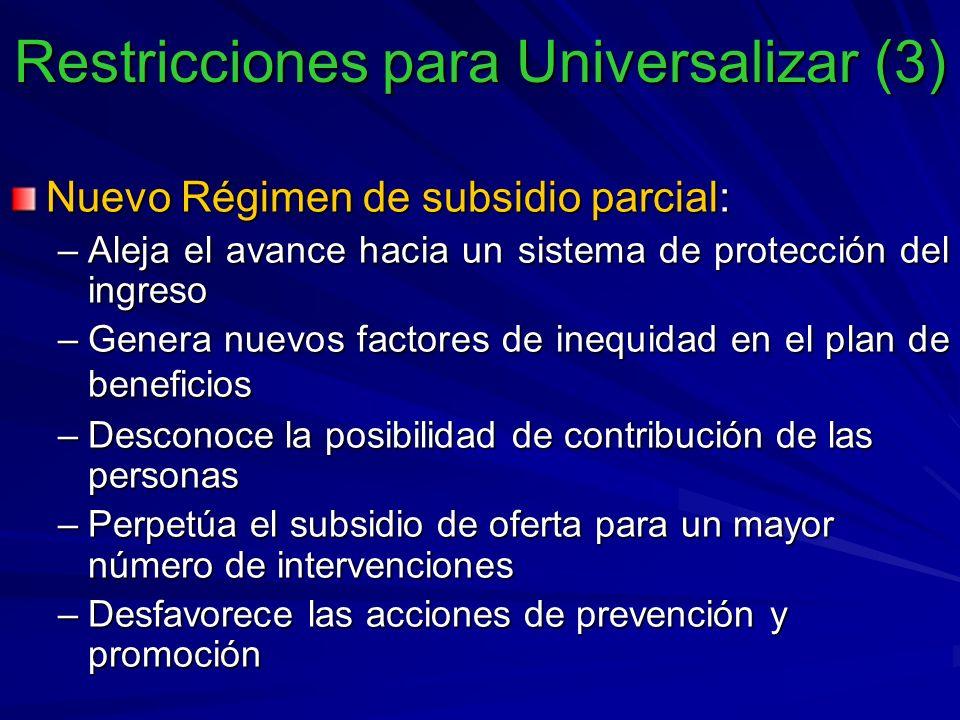 Nuevo Régimen de subsidio parcial: –Aleja el avance hacia un sistema de protección del ingreso –Genera nuevos factores de inequidad en el plan de beneficios –Desconoce la posibilidad de contribución de las personas –Perpetúa el subsidio de oferta para un mayor número de intervenciones –Desfavorece las acciones de prevención y promoción Restricciones para Universalizar (3)