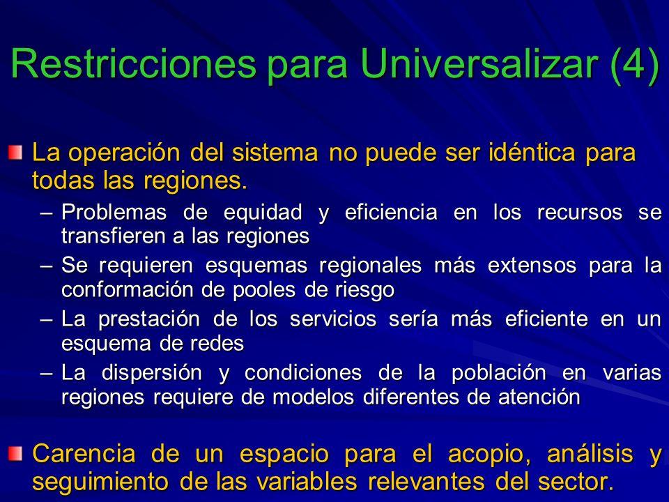 La operación del sistema no puede ser idéntica para todas las regiones.