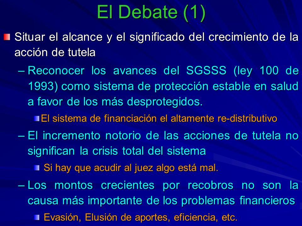 El Debate (1) Situar el alcance y el significado del crecimiento de la acción de tutela –Reconocer los avances del SGSSS (ley 100 de 1993) como sistema de protección estable en salud a favor de los más desprotegidos.