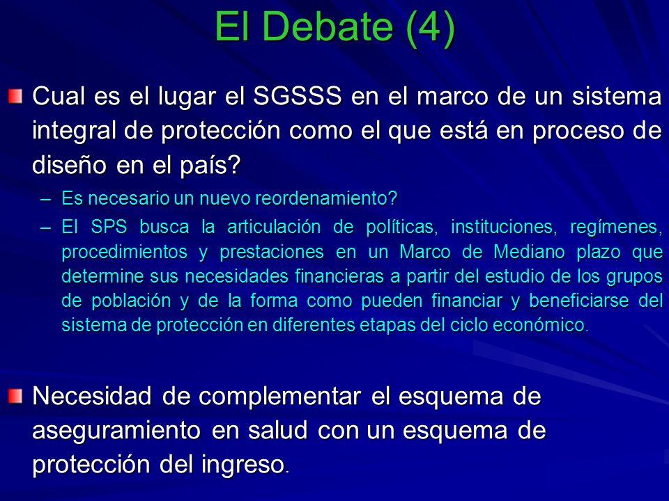 El Debate (4) Cual es el lugar el SGSSS en el marco de un sistema integral de protección como el que está en proceso de diseño en el país.