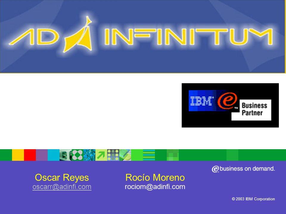 ® IBM Software Group © 2003 IBM Corporation Oscar Reyes oscarr@adinfi.com oscarr@adinfi.com Rocío Moreno rociom@adinfi.com