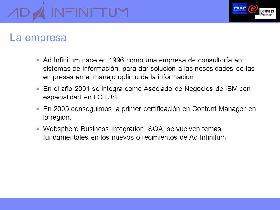 La empresa Ad Infinitum nace en 1996 como una empresa de consultoría en sistemas de información, para dar solución a las necesidades de las empresas en el manejo óptimo de la información.
