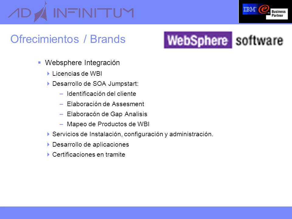 Ofrecimientos / Brands Websphere Integración Licencias de WBI Desarrollo de SOA Jumpstart: –Identificación del cliente –Elaboración de Assesment –Elaboracón de Gap Analisis –Mapeo de Productos de WBI Servicios de Instalación, configuración y administración.