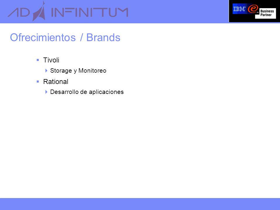 Ofrecimientos / Brands Tivoli Storage y Monitoreo Rational Desarrollo de aplicaciones