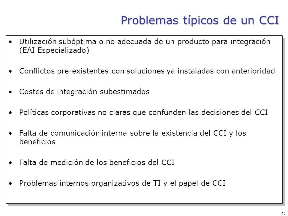 18 Problemas típicos de un CCI Utilización subóptima o no adecuada de un producto para integración (EAI Especializado) Conflictos pre-existentes con s