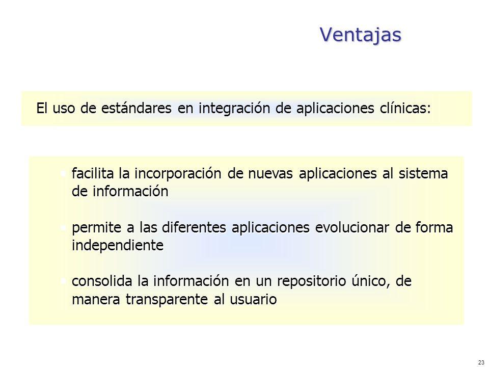 23 Ventajas El uso de estándares en integración de aplicaciones clínicas: facilita la incorporación de nuevas aplicaciones al sistema de información f
